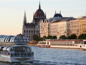 Budapest Parliament Building from Dinner Cruise