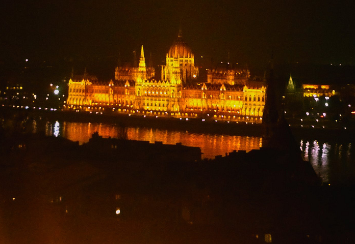 Hungarian Parliament at night in December