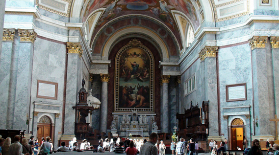 Inside Esztergom Basilica in the Danube Bend