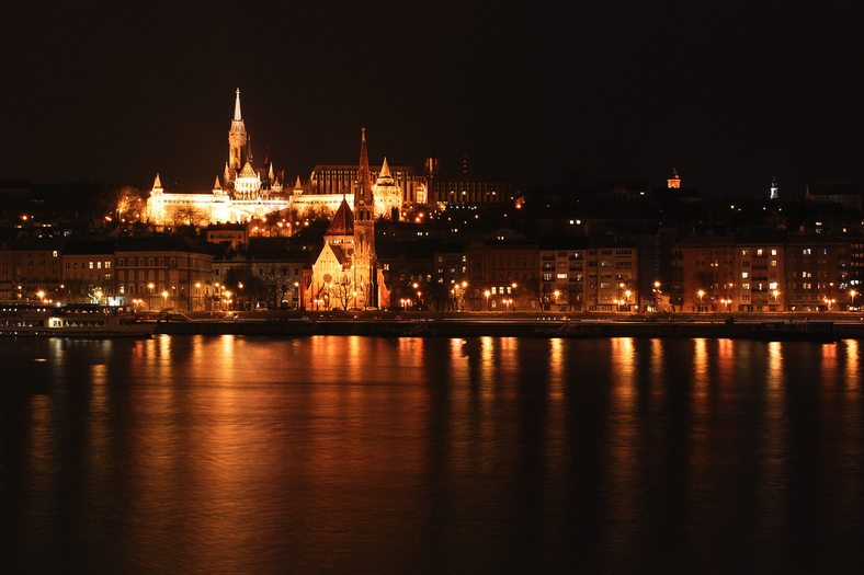 Matthias Church Night River Sights Romantic Budapest