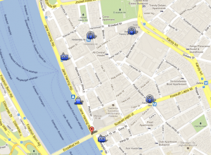 Operetta and Opera Cruise Ship Budapest Map with Pier