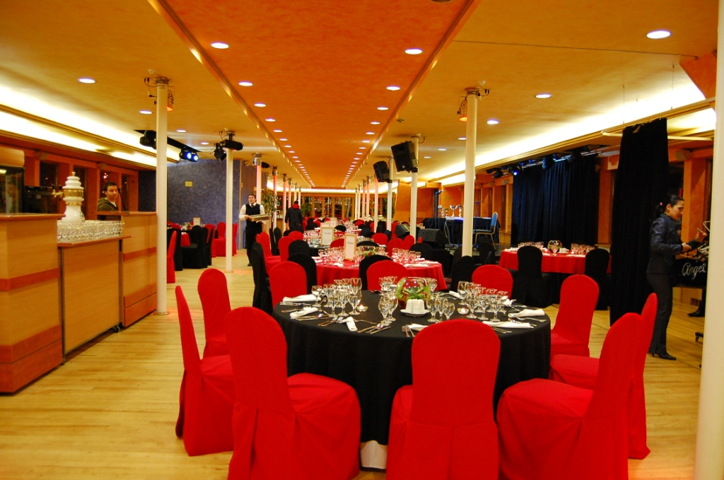 Black Red Extra Decor on Chairs and Table with Flower Decor Europa Ship Budapest
