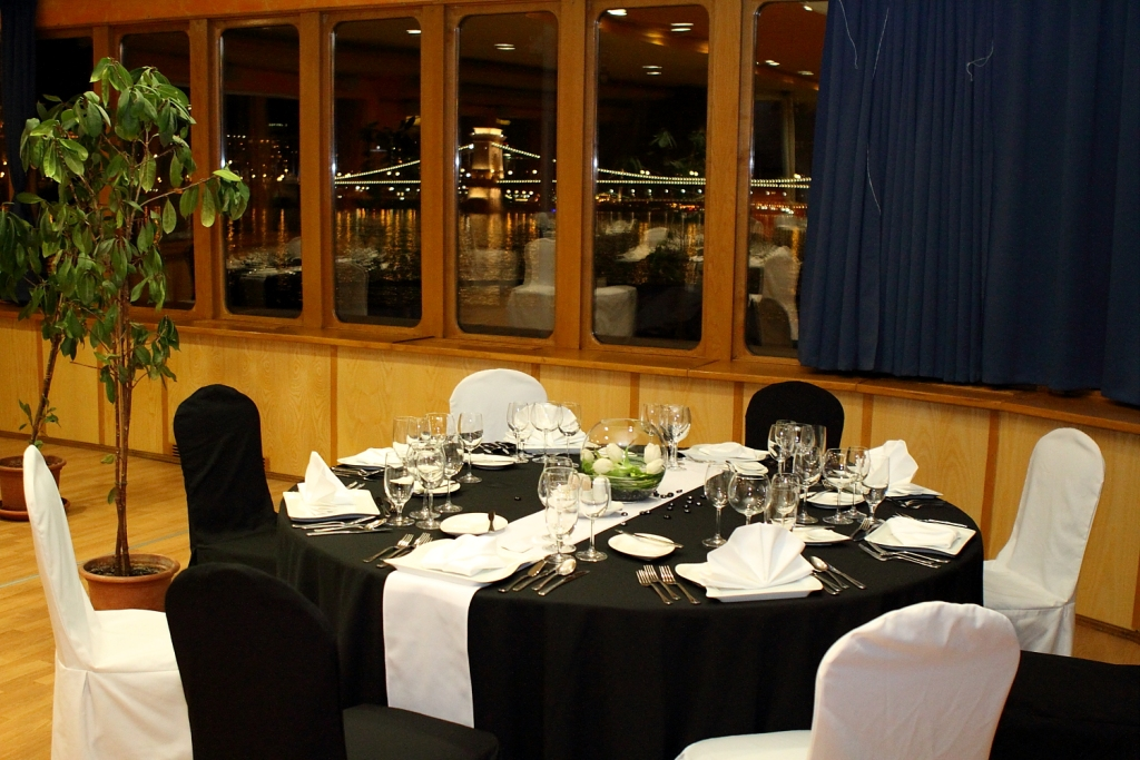 Black White Extra Decor on Chairs and Table with Flower Decor Europa Ship Budapest