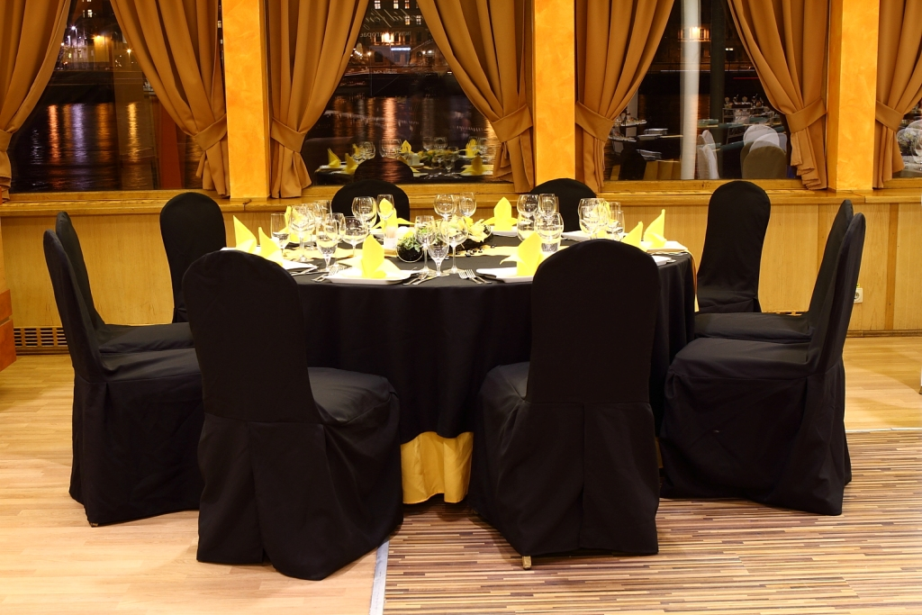 Black Yellow Extra Decor on Chairs and Table with Flower Decor Europa Ship Budapest