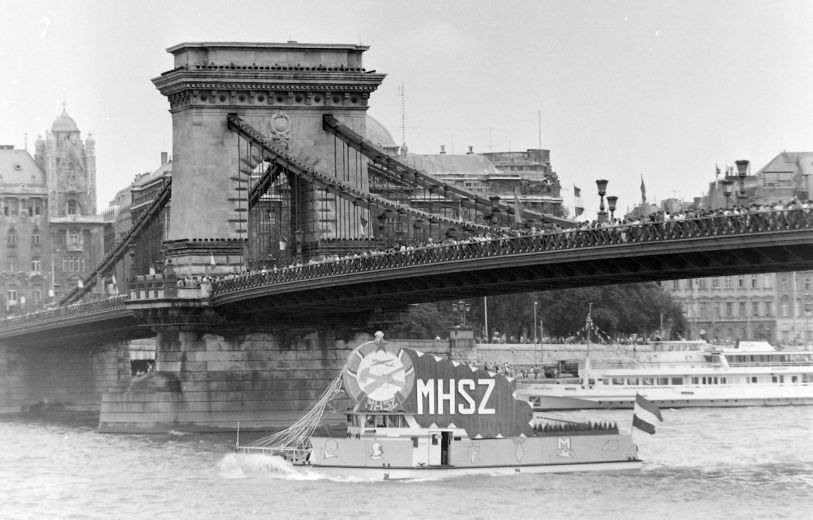 Communist Budapest River Danube Aug 20 Parade
