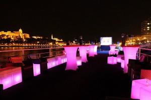 Zsofia Ship Terrace at Night Budapest Cruise Ship
