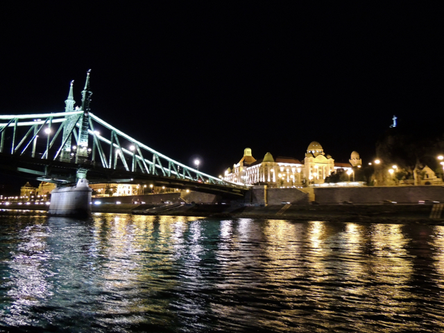 Views of Gellert Spa and Liberty Bridge from Budapest Dinner Cruise