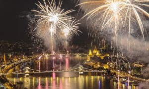 Budapest Fireworks on Aug 20 - River Danube Hungary
