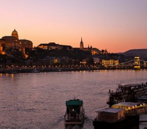 Sunset on River Danube in Budapest Cruise
