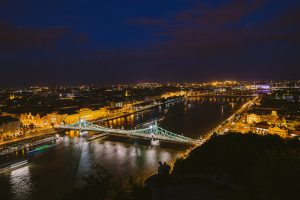 Liberty Bridge View over Budapest Night River Attractions Wei Te Wong