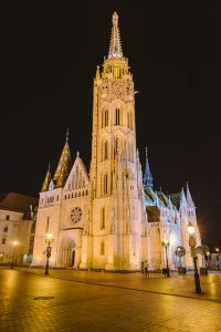 Matthias Church front Night Budapest River Attractions by Wei-Te Wong