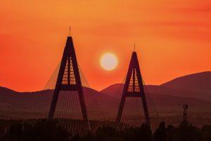 Megyeri Bridge River Danube Budapest at Sunset