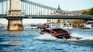 Luxury Yacht Danube River Budapest by Bridge