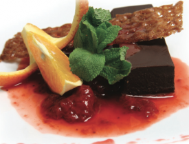 Chocolate Cake Strawberry Sauce Legenda Dinner Cruise