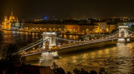 Chain Bridge Night Budapest River Attractions by Wilfredorrh